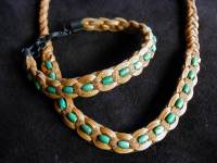 Deer Leather, Turquoise Bracelet and Necklace